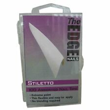 THE EDGE BOX 100 STILETTO FRENCH WHITE NAIL TIPS acrylic uv gel fibreglass