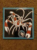 """Lightening Bug Signed Art Tile Elaine Cain 5/"""" X 6/"""""""