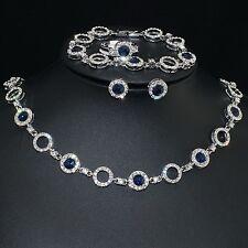 V438 VF Austria Crystal Blue CZ Alloy Earrings Bracelet Necklace Set Ring Size 7