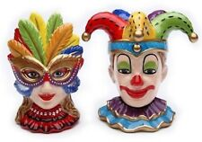 Mardi Gras Ceramic Clown & Female Mask Salt and Pepper Set Venetian Mask