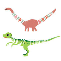 happy birthday dinosaur paper banner hanging diy party decor bunting supplies JH
