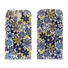 azul y Verde Estampado Floral Libro Funda de piel para Samsung Galaxy S4 Mini