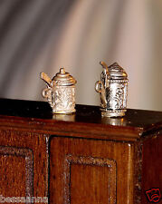 Lot of 2 Old Dollhouse Accessory Charm Sterling Silver Stein Lid Dining 5146DH