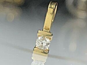 Estate 18k Yellow Gold Diamond Pendant 0.07 Ct Round Diamomd Small Dainty