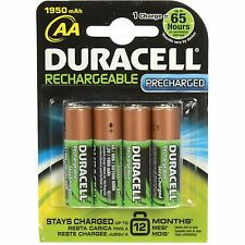 4 Duracell AA Rechargeable StayCgharged Precharged NiMH Batteries 1950mAH Retail