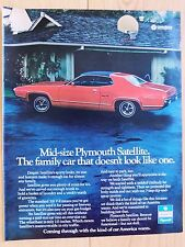 1972 PLYMOUTH SATELLITE SEBRING LARGE COLOR MAGAZINE AD  13 x 10 1/2