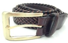 $88 CLUB ROOM Men BROWN BRAIDED FAUX LEATHER CASUAL DRESS BUCKLE BELT SIZE 44