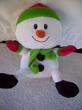 DAN DEE Snowman Red Green Fleece Hat Scarf Winter Plush Stuffed Animal Toy