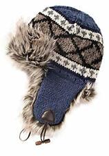 Second Nature Online Denim Blue Grey Stripe Annapurna Trapper Hat