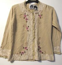 STORYBOOK KNITS WOMEN'S L/S SWEATER CARDIGAN BEIGE FLORAL LACE EMBROIDERY S NWT