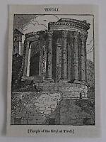 small 1832 magazine engraving ~ TEMPLE OF THE SIBYL AT TIVOLI, Poland