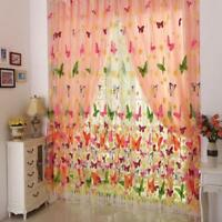 Sheer Curtain Butterfly Tulle Print Panel Window Balcony Door Room Divider KJ