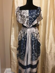 Orion White Navy Paisley Print Two Piece Set, Size Large