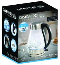 Daewoo Illuminating Crystal Clear Aqua Glass Fast Boil Jug Kettle - 3kW - 1.5L