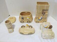 Vintage Kato Kogei Japan Happy Driver Ceramic Boys Set, 5 Piece LQQK!