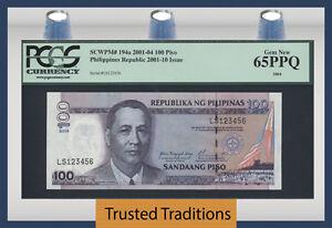 TT PK 194a 2001 PHILIPPINES 100 PISO LADDER UP SERIAL # 123456 PCGS 65 PPQ GEM