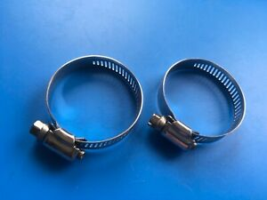 """2 x STAINLESS STEEL SS HOSE CLAMPS 40mm 2in 2"""" inch 27 - 51 mm POOL PIPE CLAMP"""