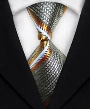 New Classic Striped WOVEN JACQUARD Silk Men's Suits Tie Necktie Silver Gold N161