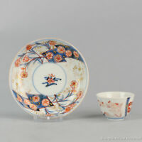 Antique 18th c Japanese Porcelain Imari Tea Bowl Cup Saucer Tea Drinking