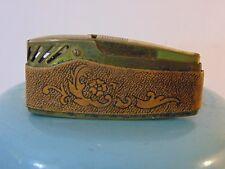 Vintage 1950s-1960s Art Deco Designed Ornate Eames Brass Leather Lighter Japan