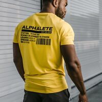 Alphalete Men's T-Shirt Alpha Gym Bodybuilding Fitness Training Top Muscle Tee