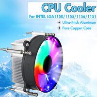 3Pin CPU Cooler 90mm RGB LED Heatsink Cooling Fan Silent For Intel LGA 115X