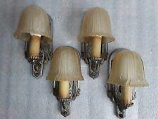 4 matching Art Deco Slip Shade WALL SCONCES LIGHT FIXTURES antique Set #1