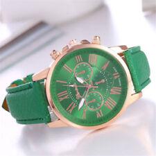 Reloj señora roman numerals reloj de pulsera cuero analógico banda cuarzo Wrist Watch verde