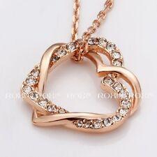 Rose Gold Filled Heart Necklace Pendant Swarovski Austrian Crystal Roxi Brand