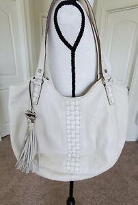 EUC BRIGHTON Collection Ivory Leather Charmed Studded Handbag Zip