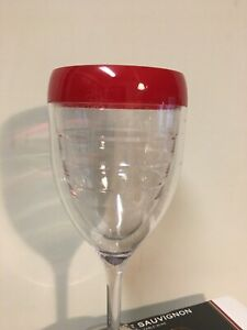 "Red Rimmed Plastic Wine 8.5"" Sturdy Glass"