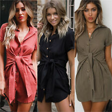 Women's Summer Mini Dress Short Sleeve Buttons Lace Up Casual Evening Party