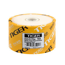 1000 PCS Tiger DVD-R DVDR 16X 4.7GB White Inkjet Hub Printable Recordable Disc