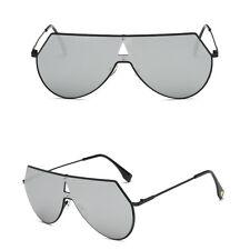 Women Men Flat Lens Mirrored Metal Frame Glasses Oversized Sunglasses Vintage