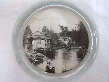 VINTAGE 1980's SMALL GLASS  PAPERWEIGHT - RIVER CANAL SCENE