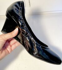 Vera Wang Lavender Ella Shoes Wedges Black Patent Leather Size 7.5