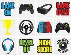 12 Gamer Temporary Tattoo's Children's Party Loot Bag Fillers Boys Gifts