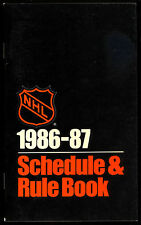 1986-87 nhl hockey schedule & rule book unmarked and nm condition 112 pages