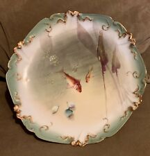 "Rare, L.D & Co.- 9 1/2"" Limoges France Hand painted Plate - Fish Scene 1895-1905"