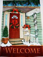 "Decorative Christmas Garden Flag A CHRISTMAS WELCOME  12"" x 18"""