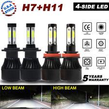 4x 4sides 2400W H11 H7 LED Combo Headlight Bulbs 6000K for GMC Acadia 07-11