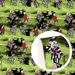 """Beetlejuice FAUX LEATHER SHEET 9"""" x 12"""" WHOLESALE PRINTED 1148195 movie horror"""