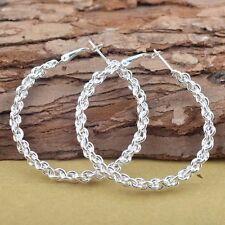 Femmes Stud Hoop Dangle Twist boucle d'oreille bijoux cadeaux de charme