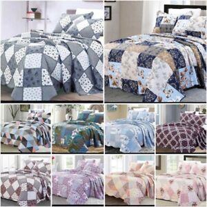 3 Piece Quilted Patchwork Bedspread Printed Comforter Throw Set double king size