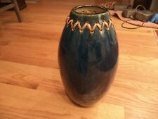 """15"""" Blue Ceramic Table Vase with Woven Rattan Accent"""