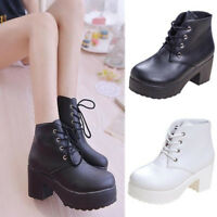 Lady Women Chunky Platform Ankle Boots Mid Block High Heel Lace up Casual Shoes
