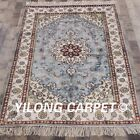Yilong 4'x6' Blue Hand Knotted Classic Silk Area Rug Antistatic Carpet WY310C