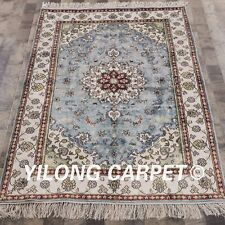 Yilong 4'x6' Small Blue Handmade Carpet Hand Knotted Classic Silk Area Rug W310C