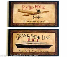 Travel wall decor plaques Fly the World vintage airplane & cruise ship pictures