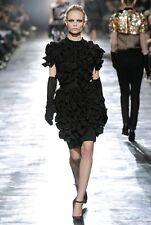 LANVIN for H&M Black Ruffle Wool Mix Cocktail Dress SZ 34 US 4 UK 6 XS